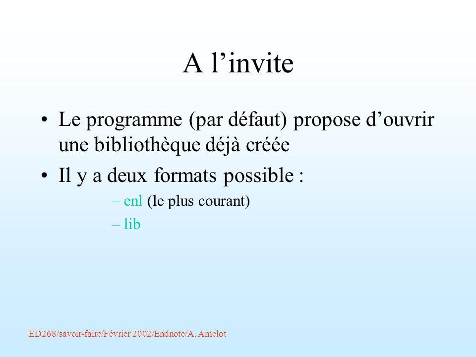 A l'inviteLe programme (par défaut) propose d'ouvrir une bibliothèque déjà créée. Il y a deux formats possible :