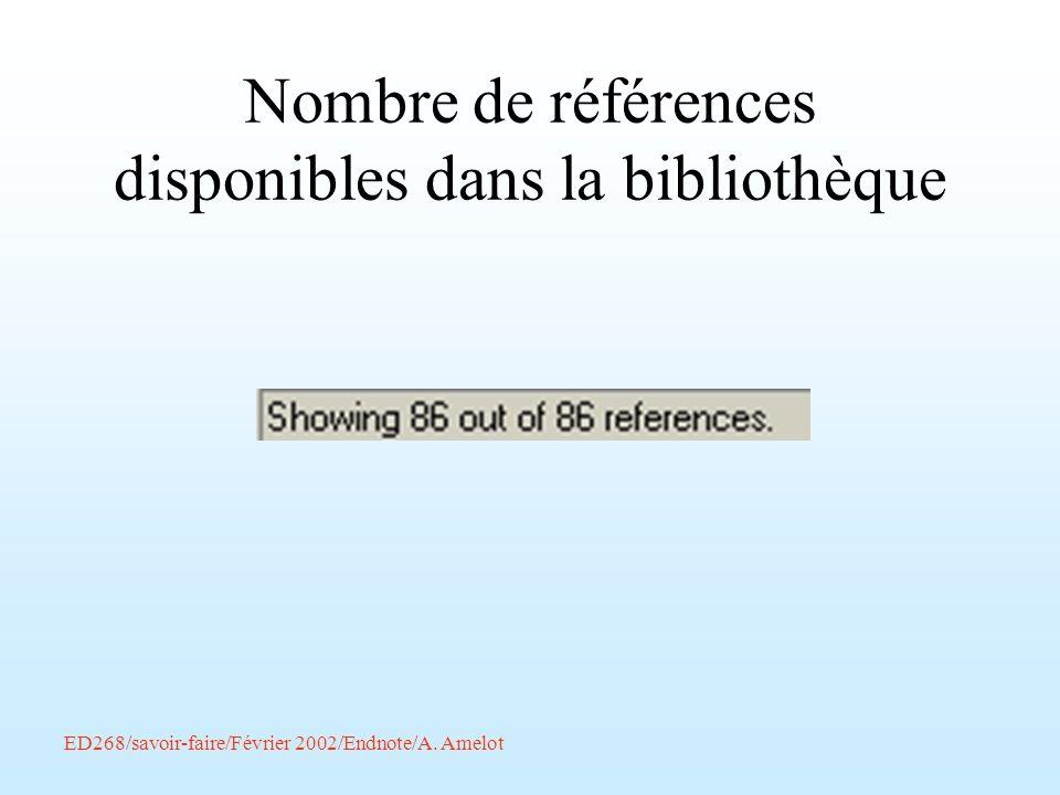 Nombre de références disponibles dans la bibliothèque
