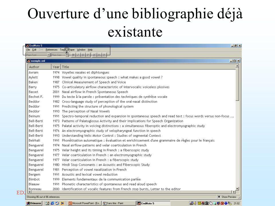Ouverture d'une bibliographie déjà existante