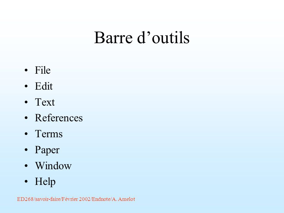 Barre d'outils File Edit Text References Terms Paper Window Help