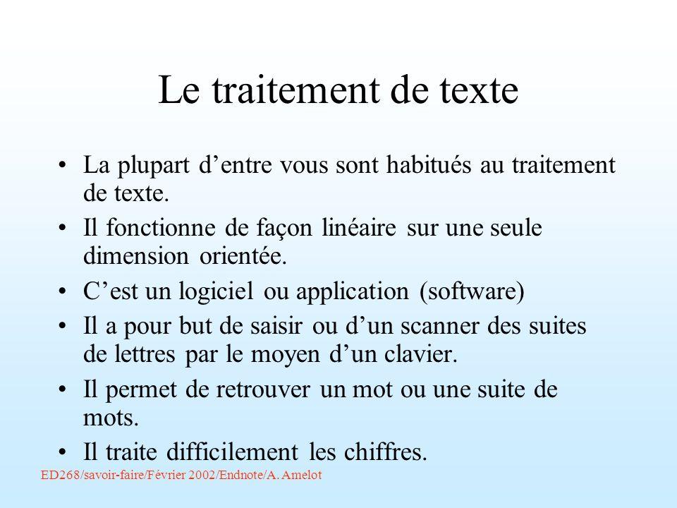 Le traitement de texteLa plupart d'entre vous sont habitués au traitement de texte.