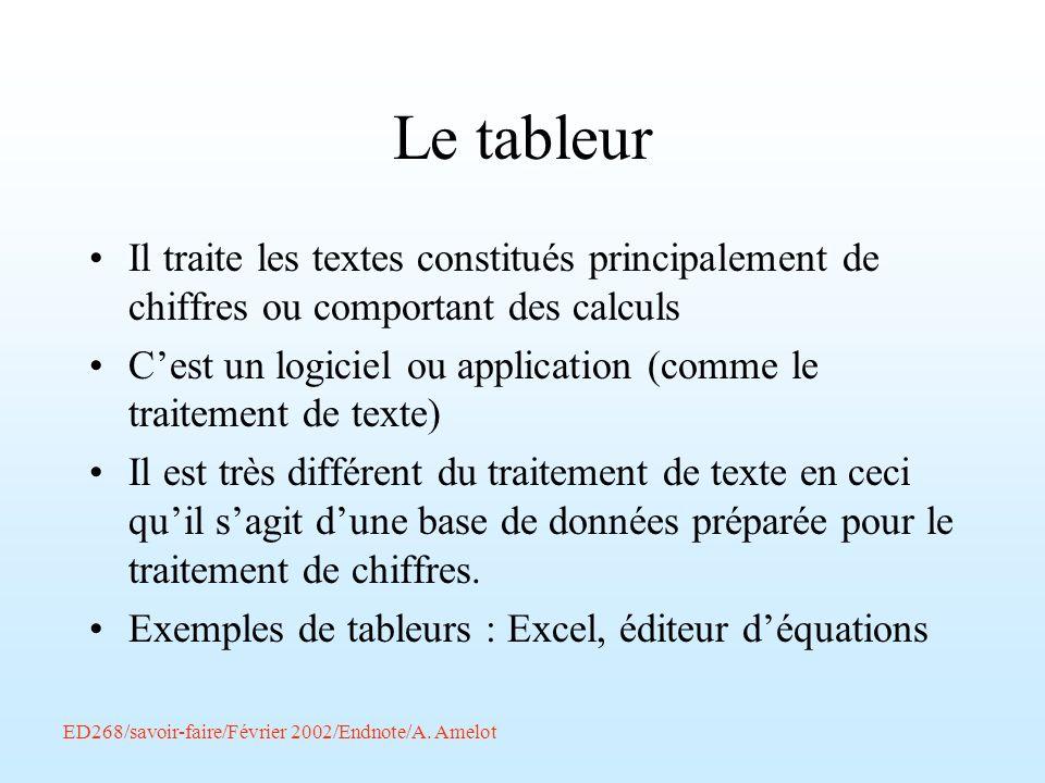 Le tableur Il traite les textes constitués principalement de chiffres ou comportant des calculs.