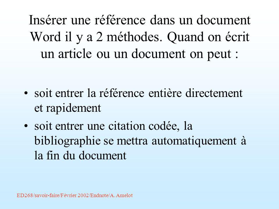 Insérer une référence dans un document Word il y a 2 méthodes