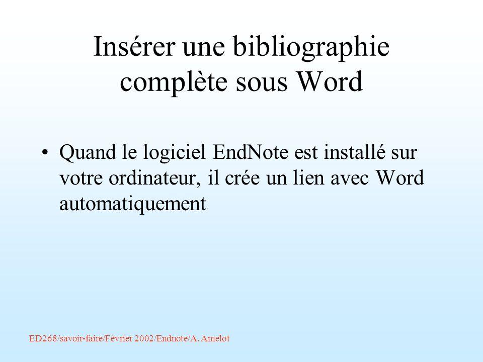 Insérer une bibliographie complète sous Word