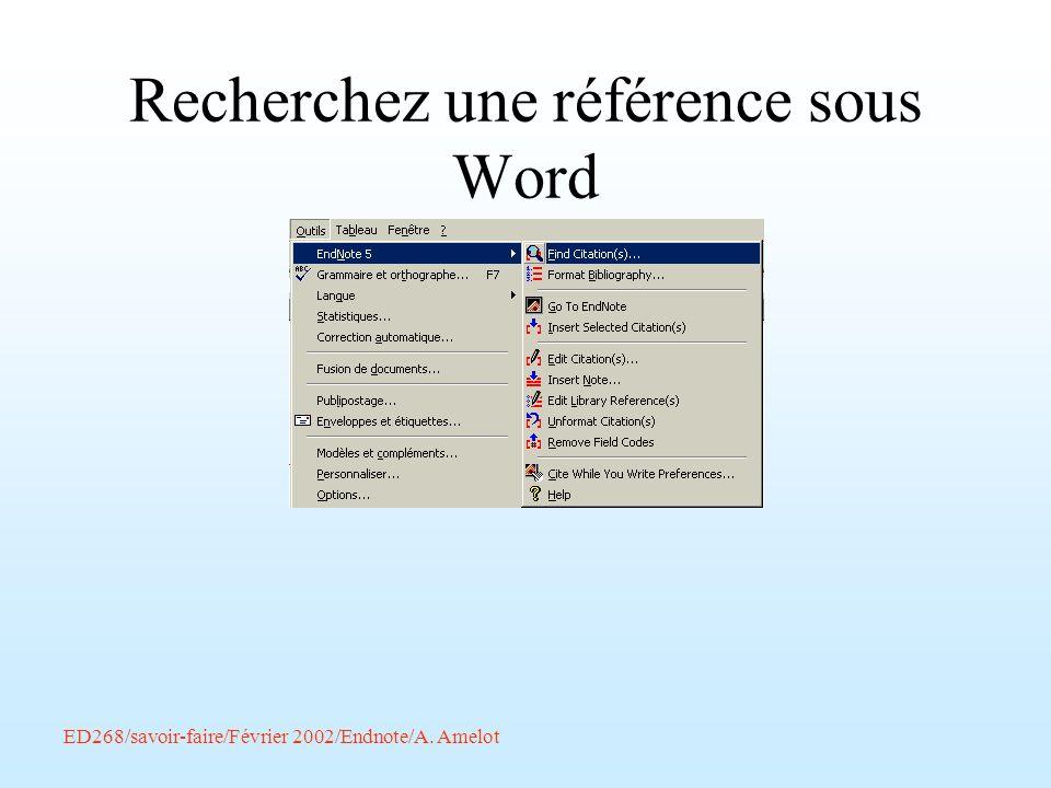 Recherchez une référence sous Word