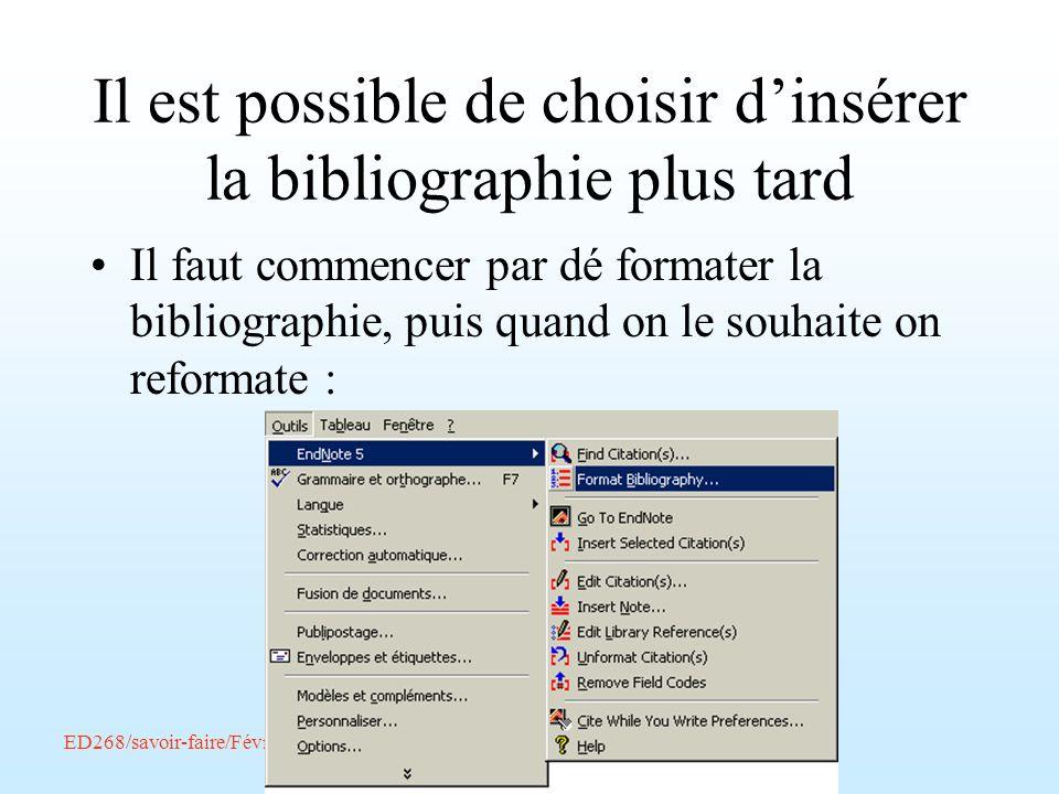 Il est possible de choisir d'insérer la bibliographie plus tard