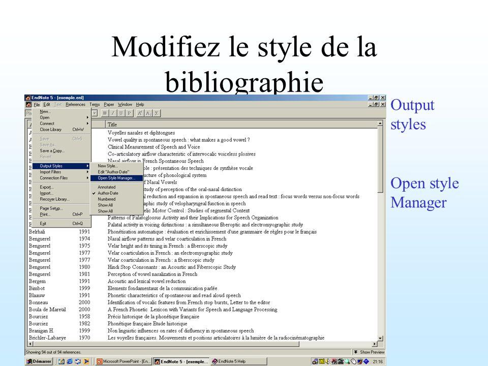 Modifiez le style de la bibliographie