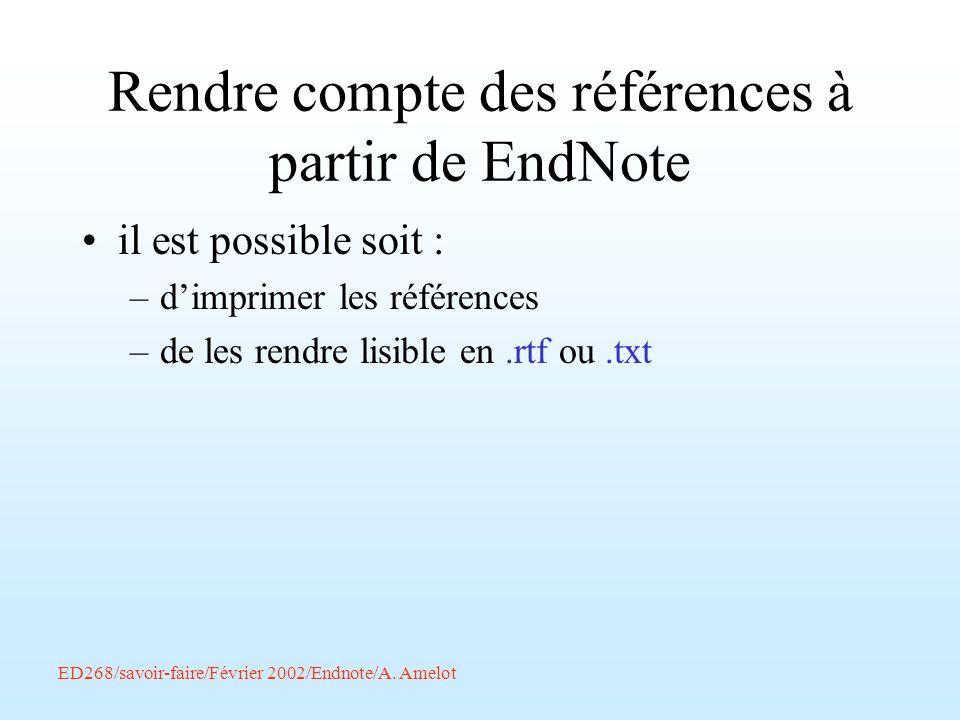 Rendre compte des références à partir de EndNote