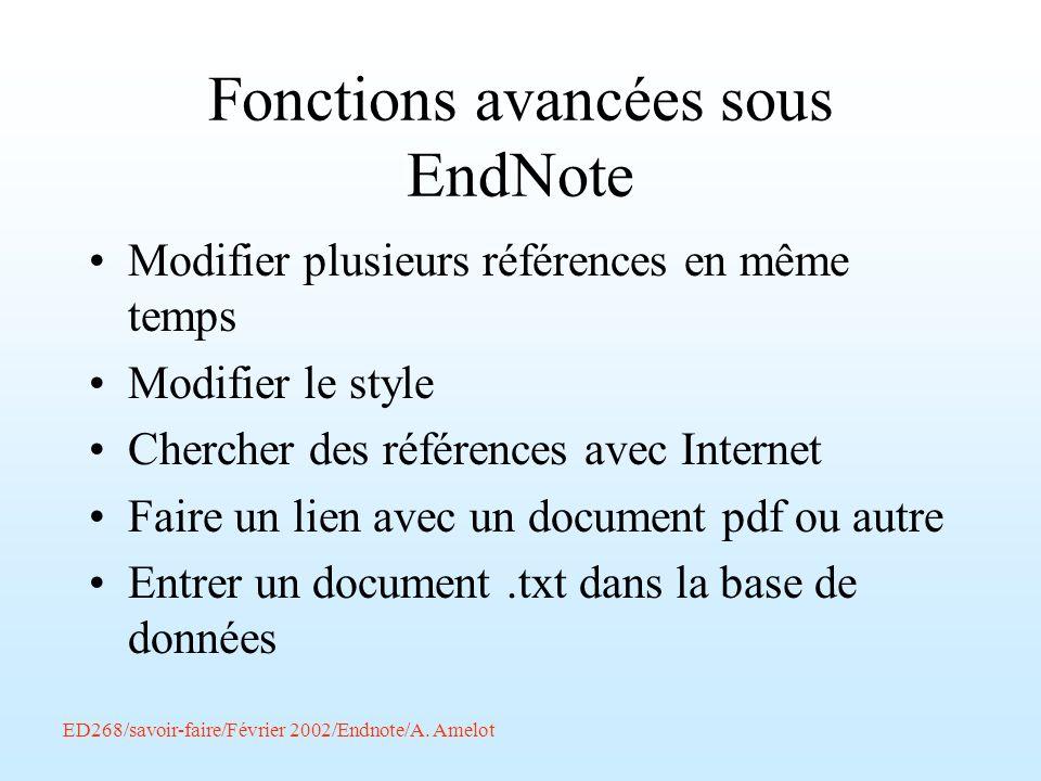 Fonctions avancées sous EndNote