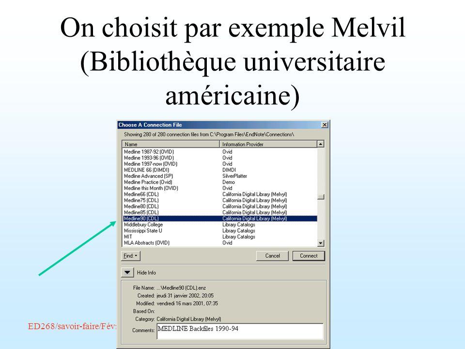 On choisit par exemple Melvil (Bibliothèque universitaire américaine)