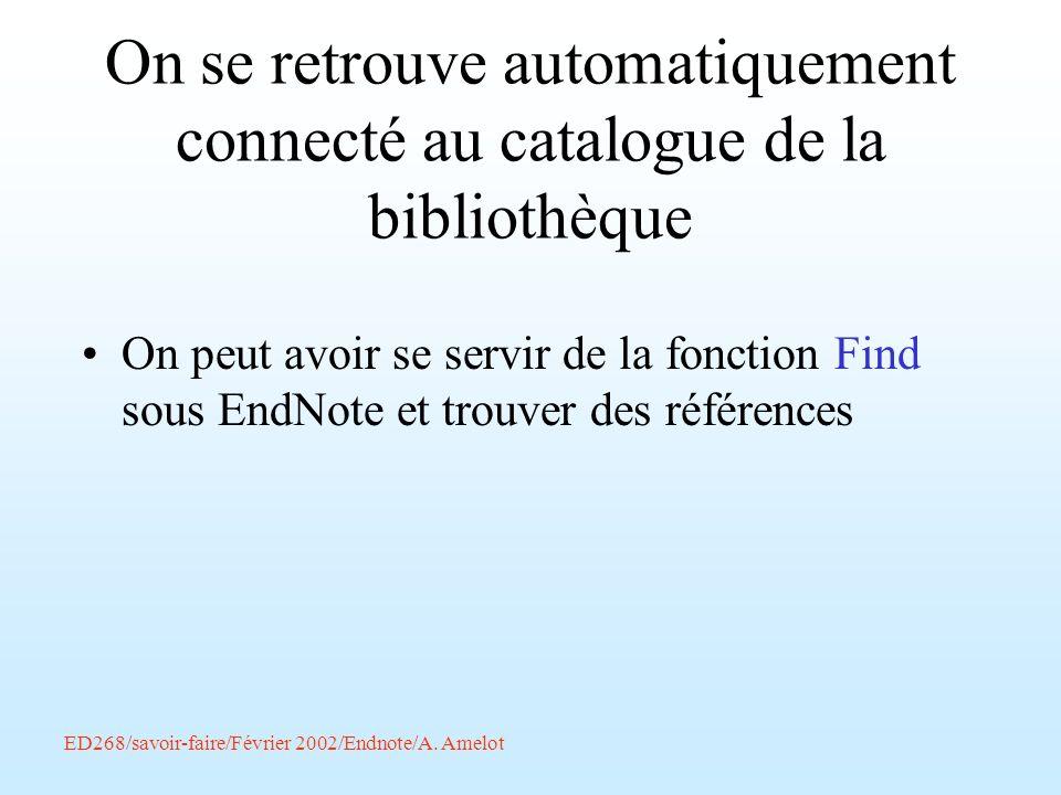 On se retrouve automatiquement connecté au catalogue de la bibliothèque