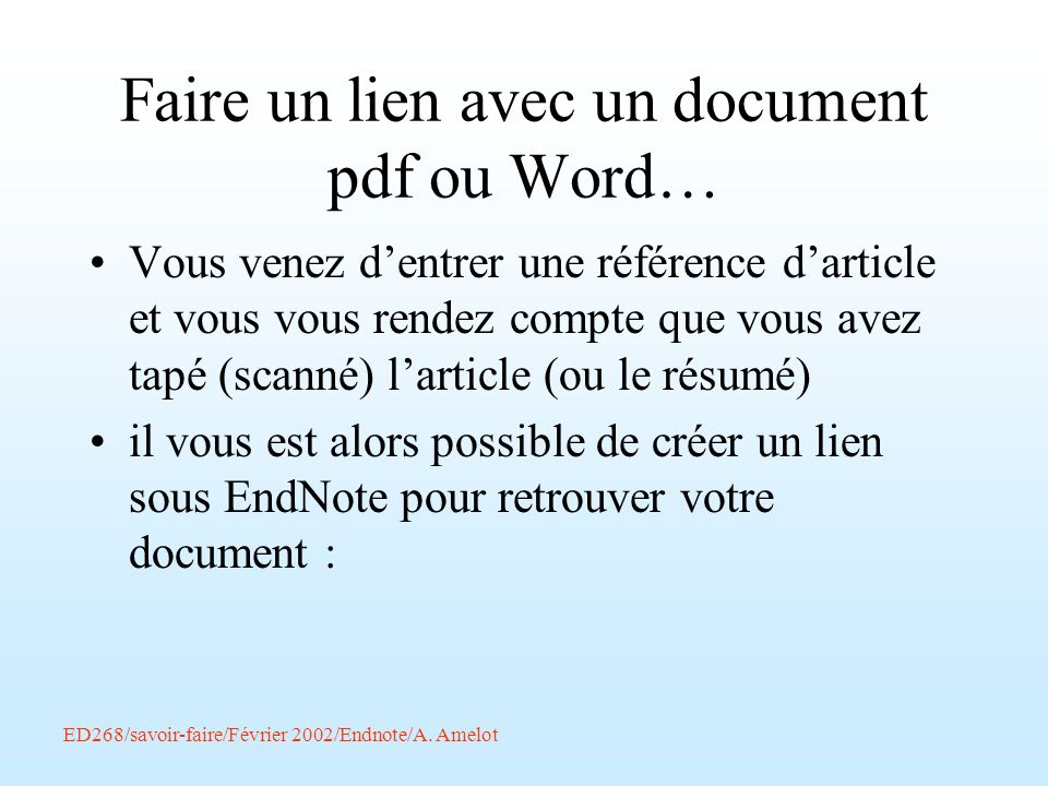 Faire un lien avec un document pdf ou Word…