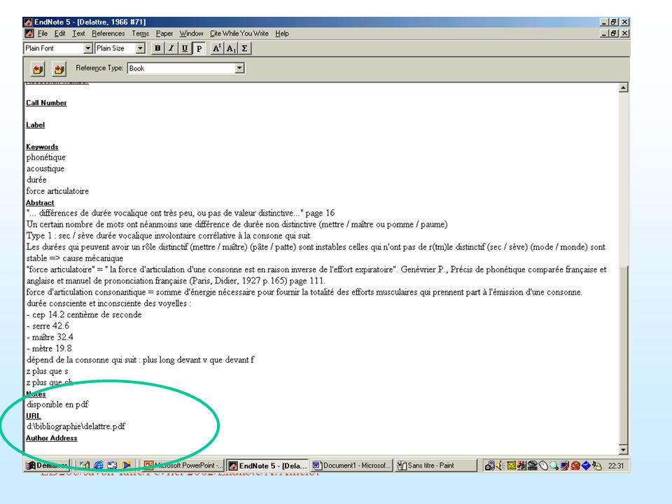 ED268/savoir-faire/Février 2002/Endnote/A. Amelot