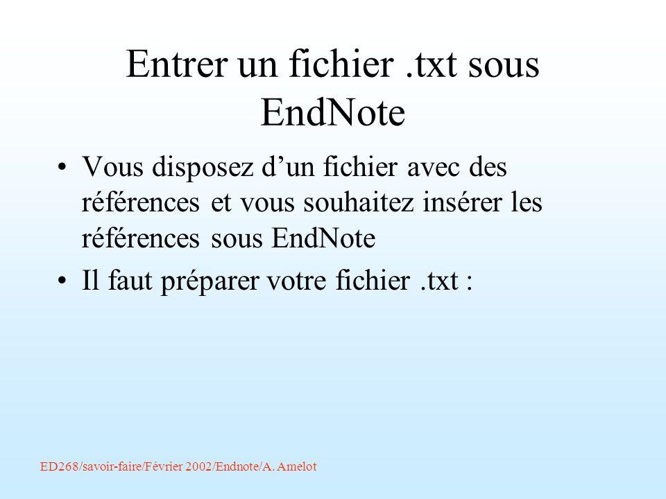 Entrer un fichier .txt sous EndNote