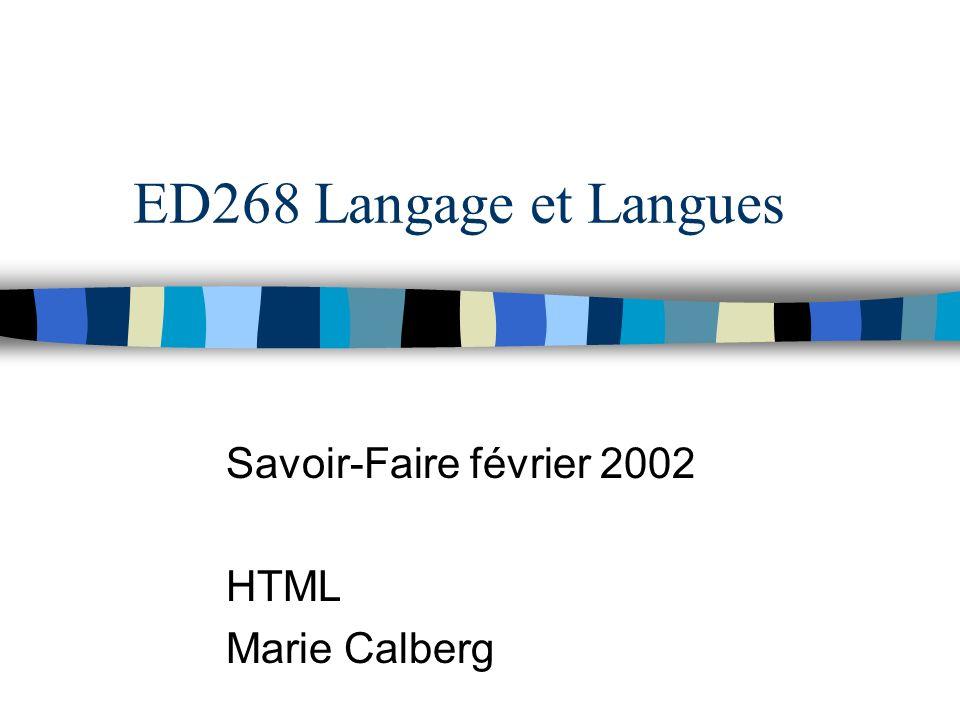 Savoir-Faire février 2002 HTML Marie Calberg