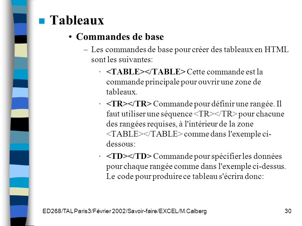 ED268/TAL Paris3/Février 2002/Savoir-faire/EXCEL/M.Calberg