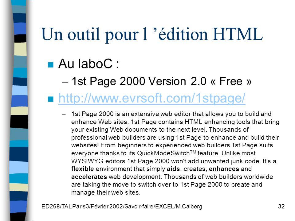 Un outil pour l 'édition HTML