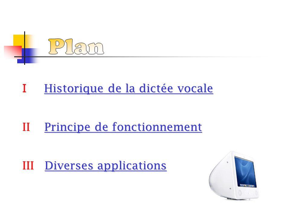 Plan I Historique de la dictée vocale II Principe de fonctionnement