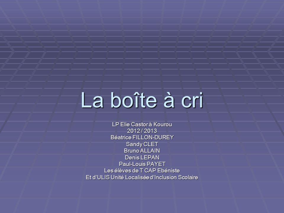 La boîte à cri LP Elie Castor à Kourou 2012 / 2013