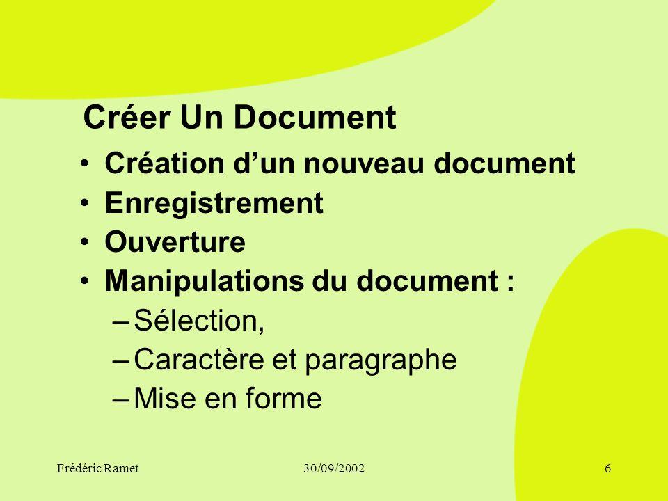 Créer Un Document Création d'un nouveau document Enregistrement