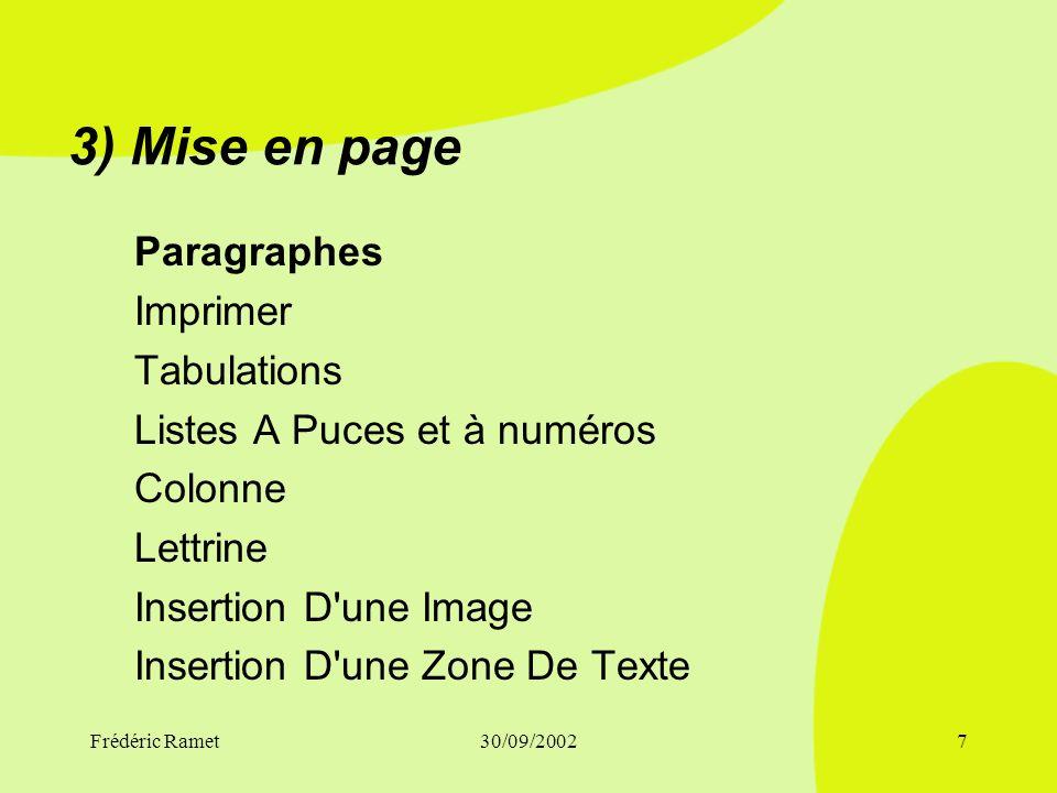 3) Mise en page Paragraphes Imprimer Tabulations