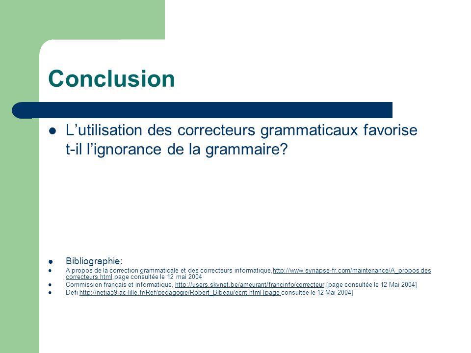 Conclusion L'utilisation des correcteurs grammaticaux favorise