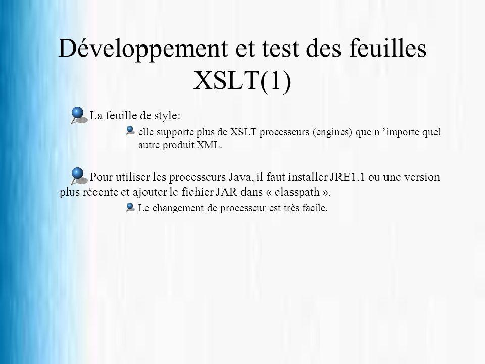 Développement et test des feuilles XSLT(1)