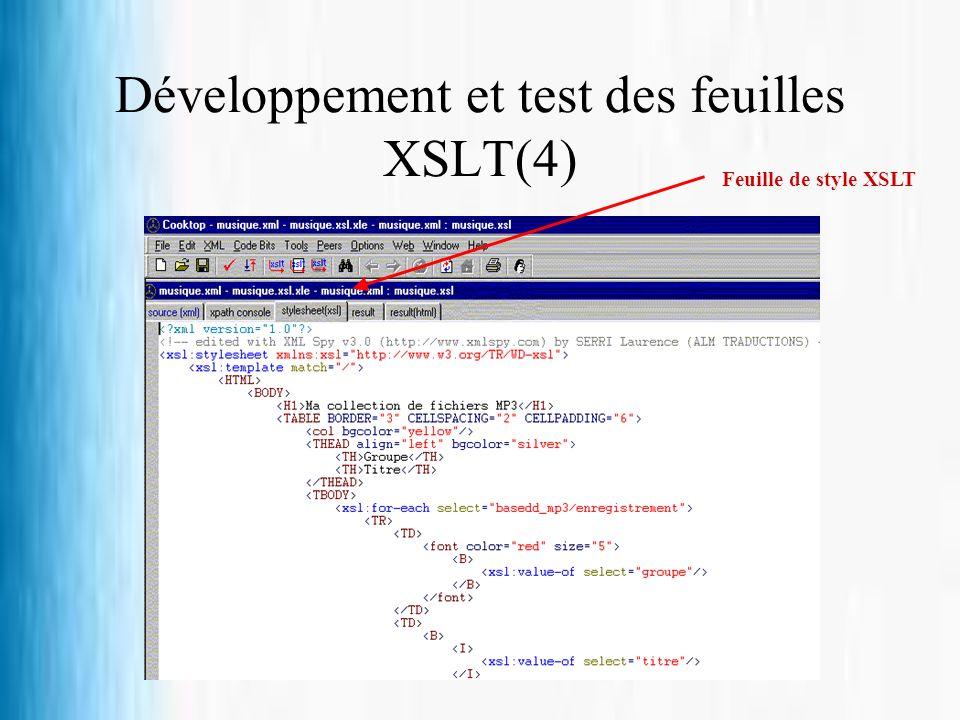 Développement et test des feuilles XSLT(4)