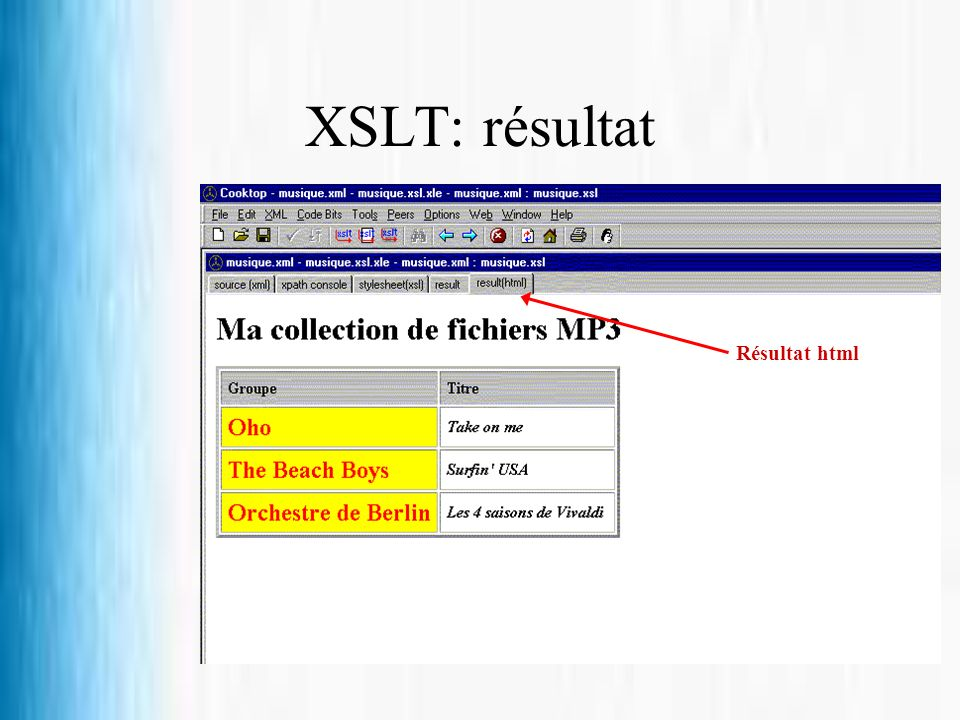 XSLT: résultat Résultat html