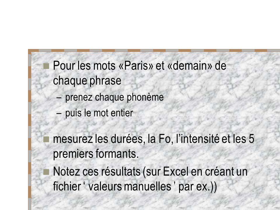 Pour les mots «Paris» et «demain» de chaque phrase