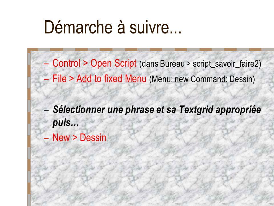 Démarche à suivre... Control > Open Script (dans Bureau > script_savoir_faire2) File > Add to fixed Menu (Menu: new Command: Dessin)