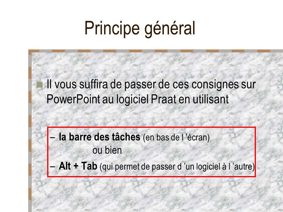 Principe général Il vous suffira de passer de ces consignes sur PowerPoint au logiciel Praat en utilisant.