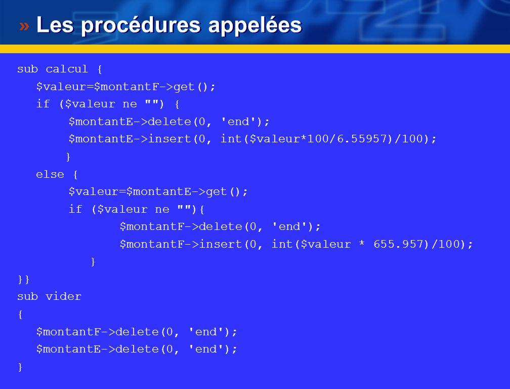Les procédures appelées