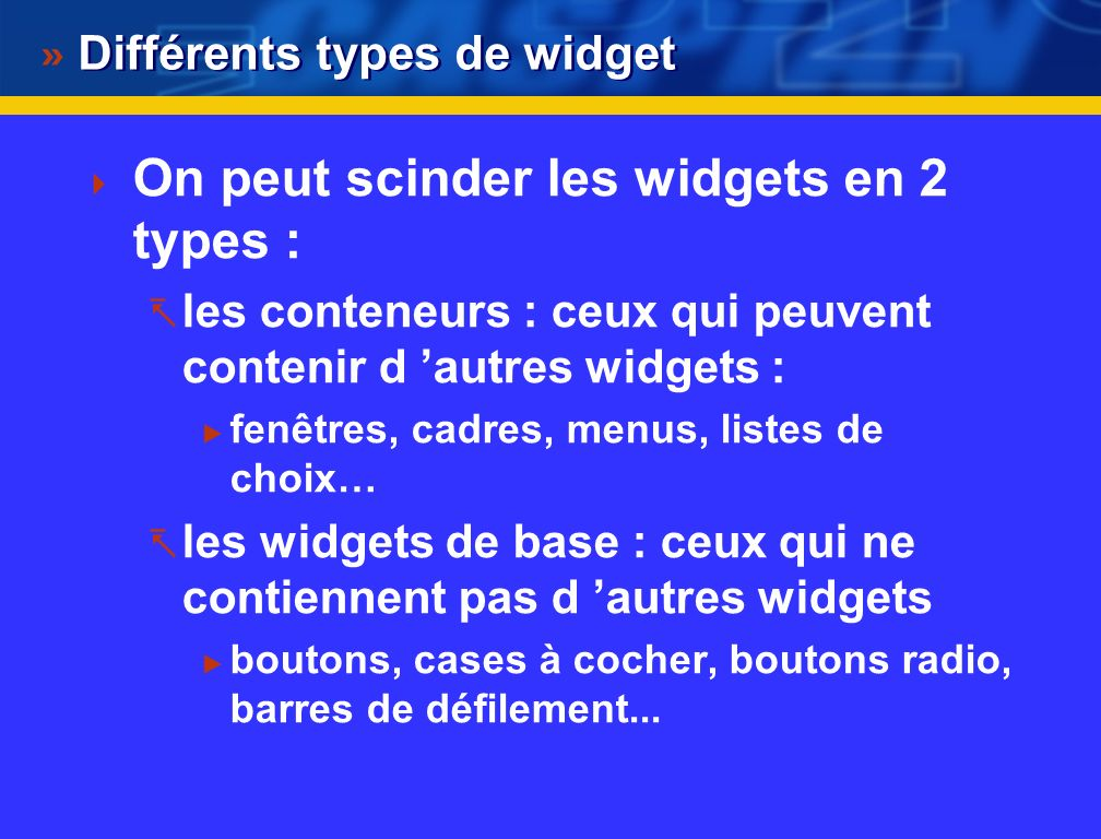 Différents types de widget