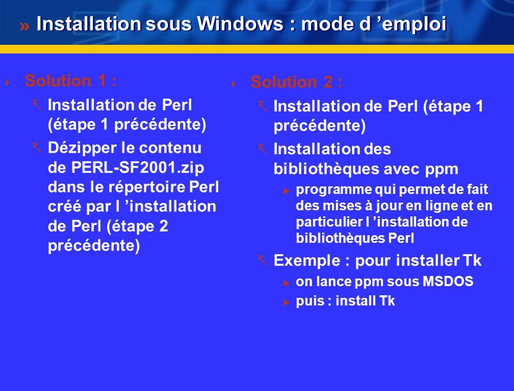 Installation sous Windows : mode d 'emploi