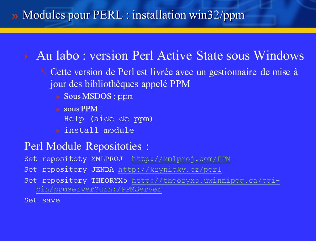 Modules pour PERL : installation win32/ppm