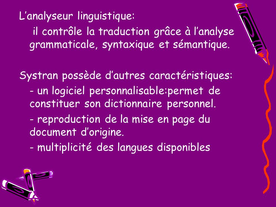 L'analyseur linguistique: