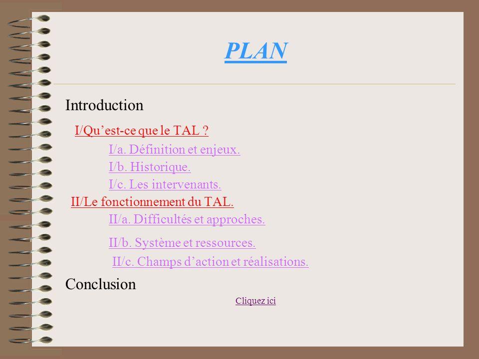 PLAN Introduction I/Qu'est-ce que le TAL