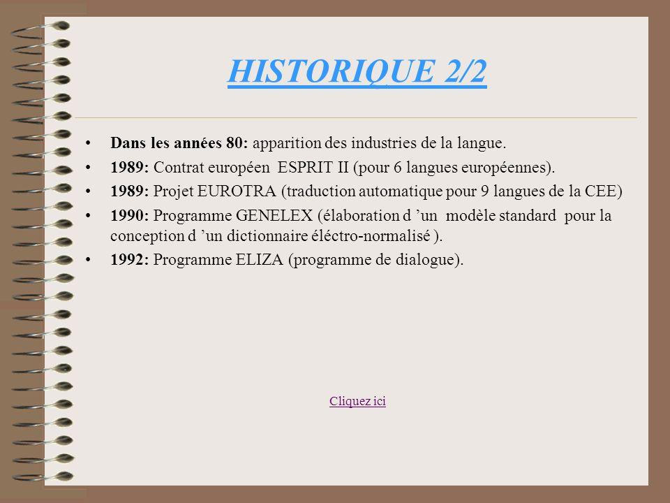 HISTORIQUE 2/2 Dans les années 80: apparition des industries de la langue. 1989: Contrat européen ESPRIT II (pour 6 langues européennes).