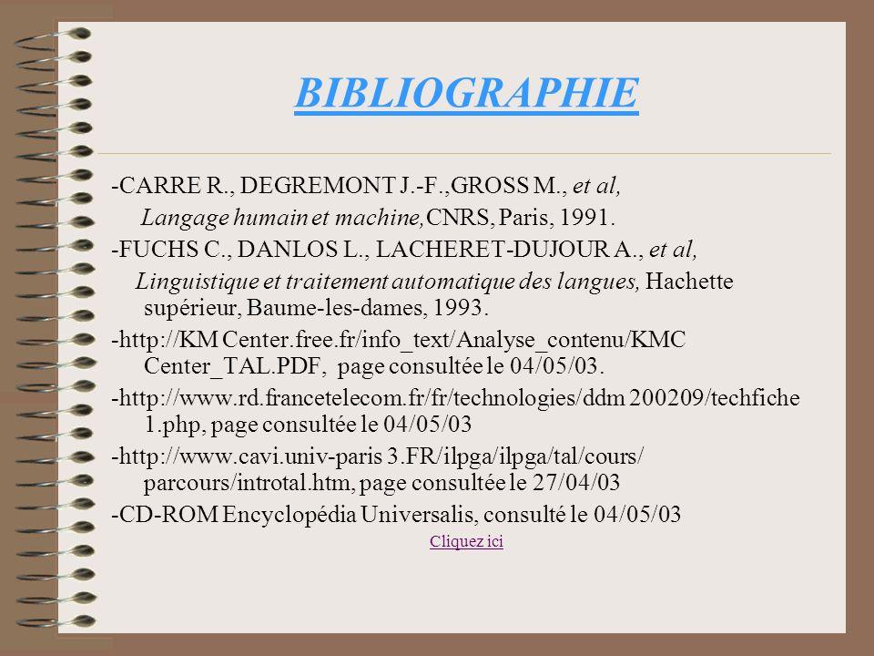 BIBLIOGRAPHIE -CARRE R., DEGREMONT J.-F.,GROSS M., et al,