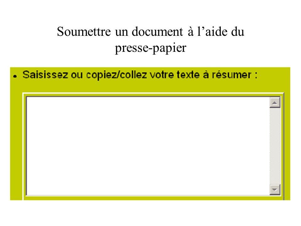 Soumettre un document à l'aide du presse-papier