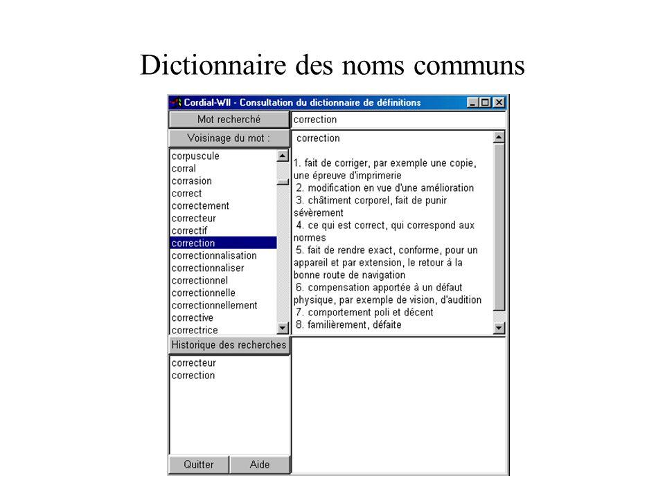 Dictionnaire des noms communs