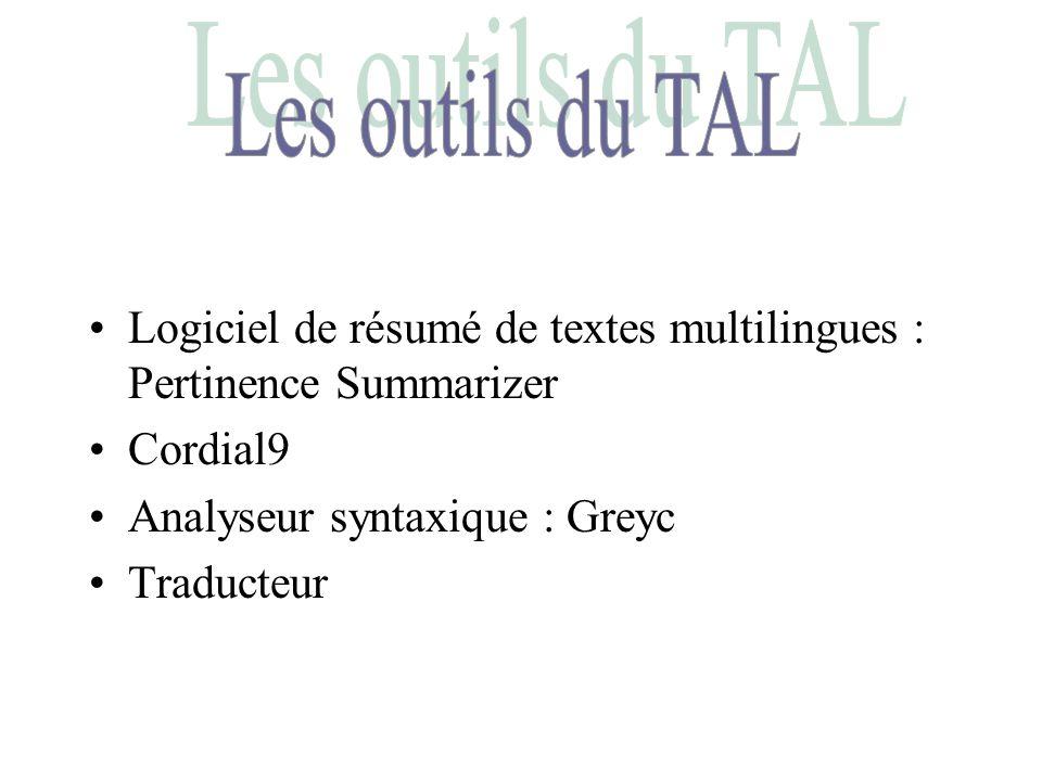 Les outils du TAL Logiciel de résumé de textes multilingues : Pertinence Summarizer. Cordial9. Analyseur syntaxique : Greyc.