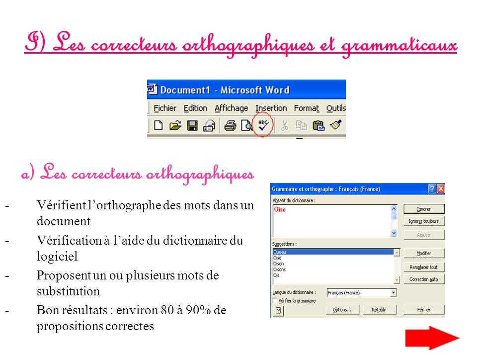 I) Les correcteurs orthographiques et grammaticaux