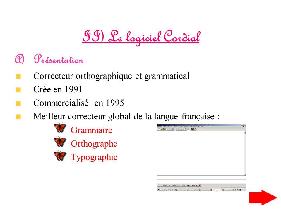 II) Le logiciel Cordial