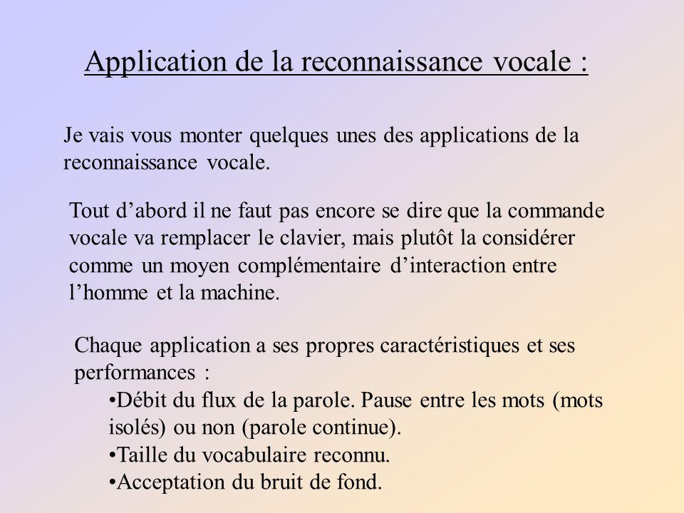 Application de la reconnaissance vocale :