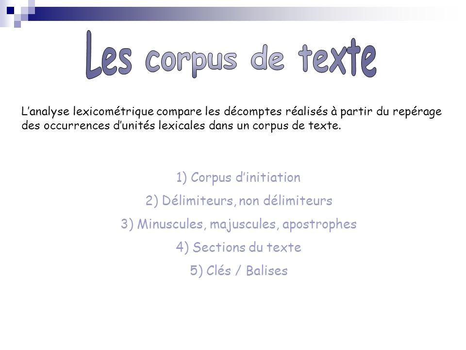 Les corpus de texte 2) Délimiteurs, non délimiteurs