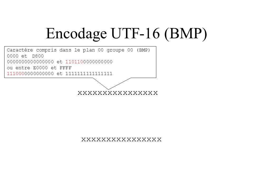 Encodage UTF-16 (BMP) xxxxxxxxxxxxxxxx xxxxxxxxxxxxxxxx
