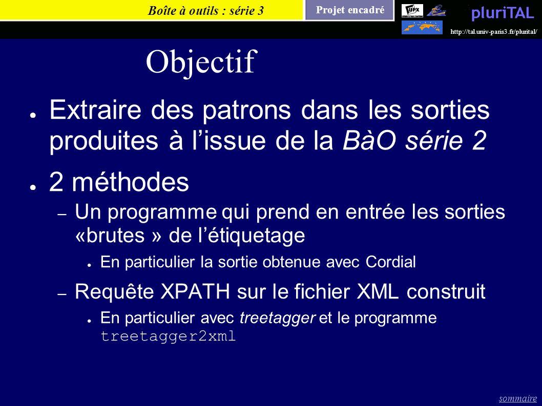 Boîte à outils : série 3Objectif. Extraire des patrons dans les sorties produites à l'issue de la BàO série 2.