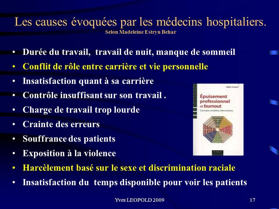 Les causes évoquées par les médecins hospitaliers